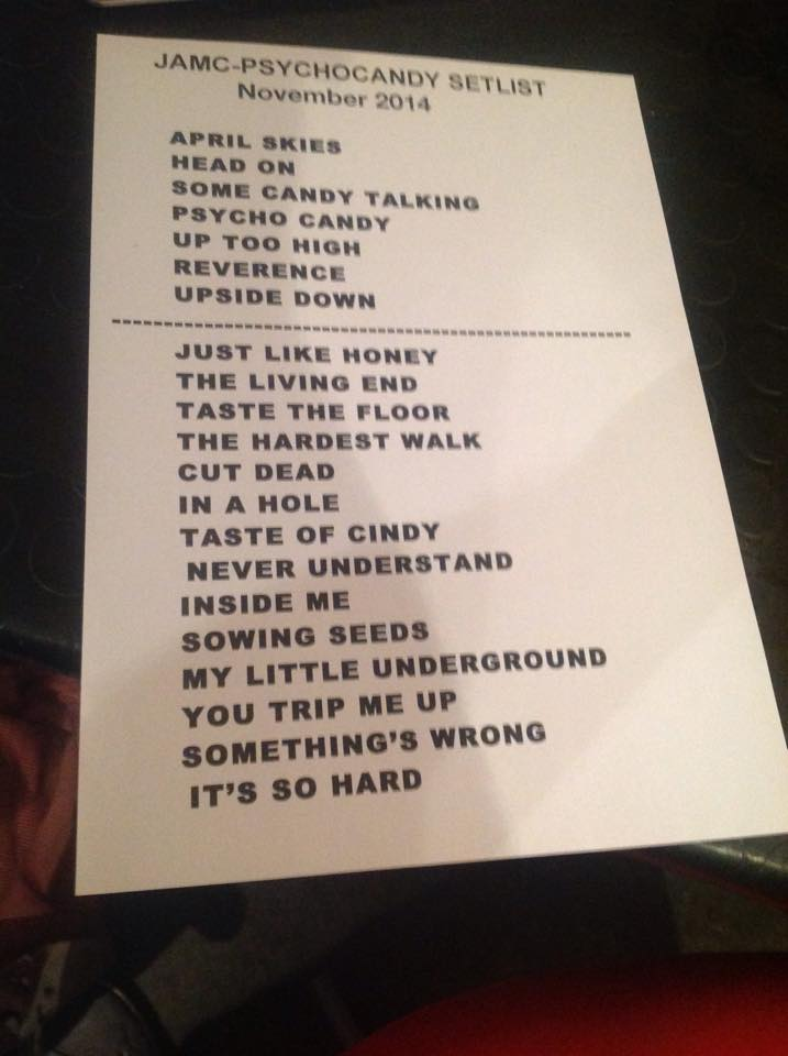 setlist mary chain paris